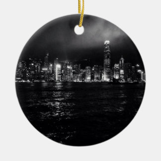 Hong Kong Skyline Round Ceramic Decoration
