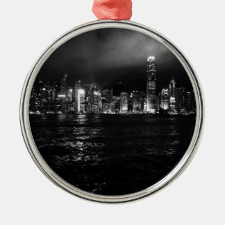 Hong Kong Skyline Silver-Colored Round Decoration