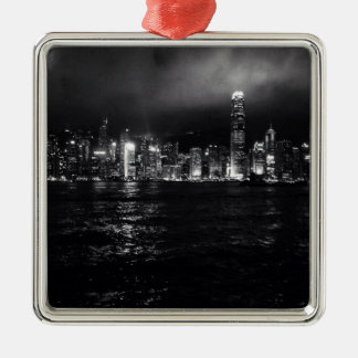 Hong Kong Skyline Silver-Colored Square Decoration
