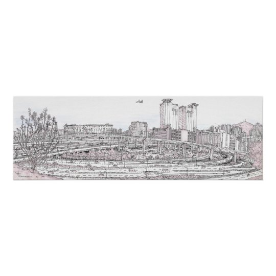 Hong Kong urban sketch panorama Poster