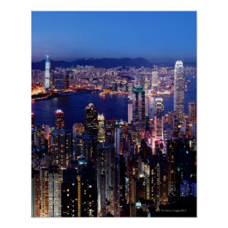 Hong Kong Victoria Harbor at Night Poster