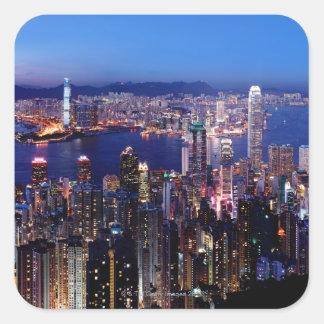 Hong Kong Victoria Harbor at Night Square Sticker