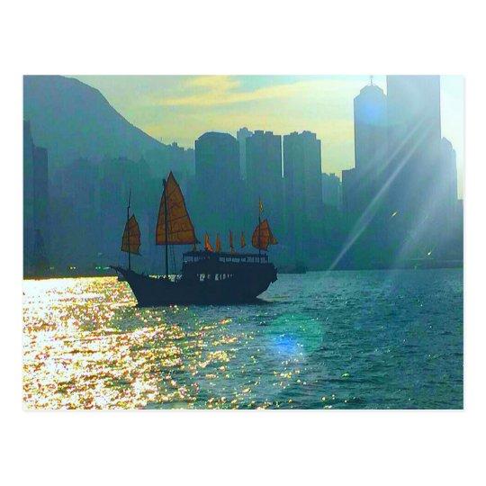 """Hong Kong Victoria Harbour Aqua tones """"junk"""" Postcard"""