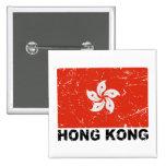 Hong Kong Vintage Flag Pinback Button