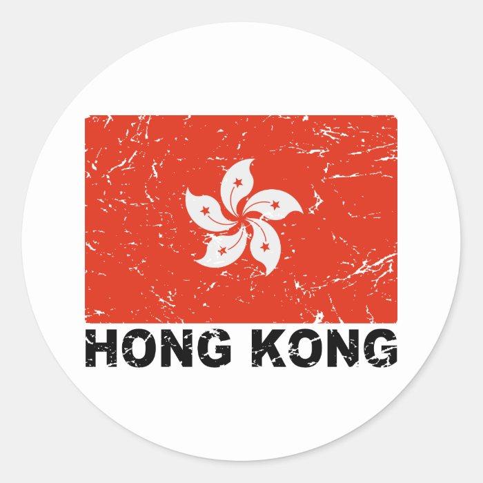 Hong Kong Vintage Flag Round Sticker