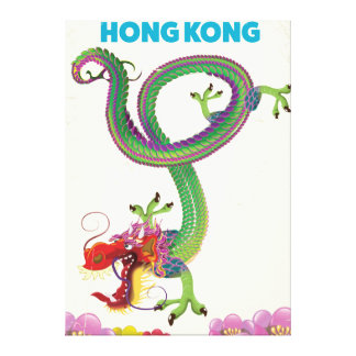 Hong Kong Vintage style travel poster Canvas Print