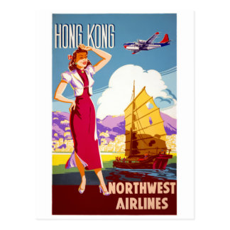 Hong Kong Vintage Travel Poster Restored Postcard