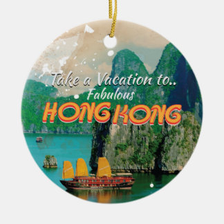 Hong Kong Vintage Travel Poster Round Ceramic Decoration