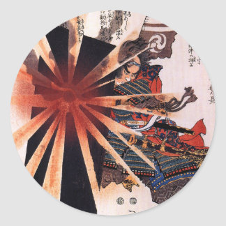 Honjo Shigenaga parrying an exploding shell Round Sticker