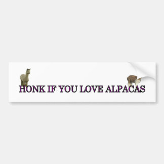 Honk if you love alpacas bumper sticker