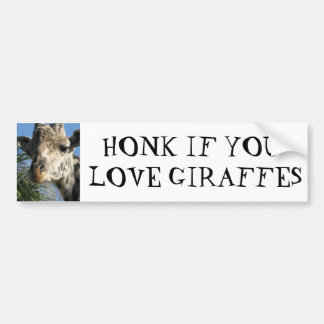 HONK IF YOU LOVE GIRAFFES BUMPER STICKER