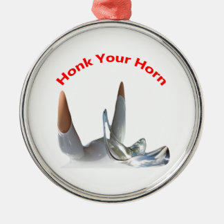 Honk Your Horn- Silver Coloured Round Decorations. Christmas Ornament