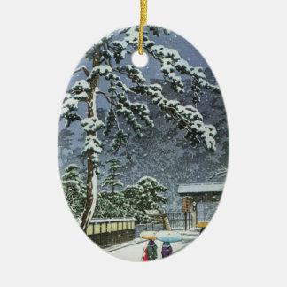 Honmonji Temple in Snow - Kawase Hasui 川瀬 巴水 Christmas Ornament