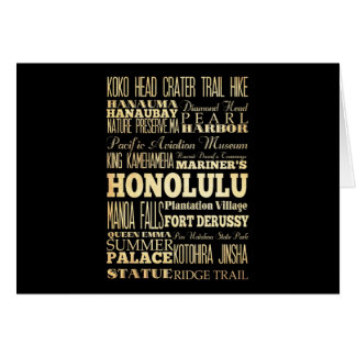 Honolulu City of Hawaii State Typography Art Greeting Card