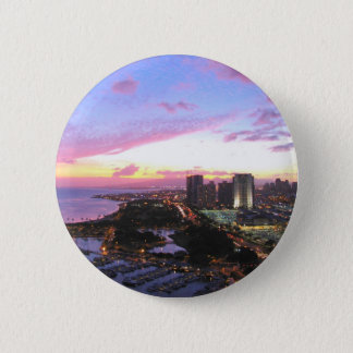Honolulu cityscape Hawaii sunset 6 Cm Round Badge