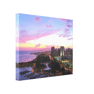 Honolulu cityscape Hawaii sunset Stretched Canvas Print
