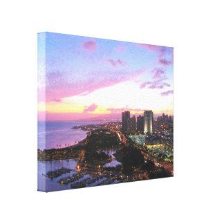 Honolulu cityscape Hawaii sunset Canvas Prints