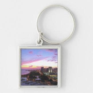Honolulu cityscape Hawaii sunset Key Chains