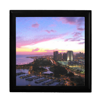 Honolulu cityscape Hawaii sunset Large Square Gift Box