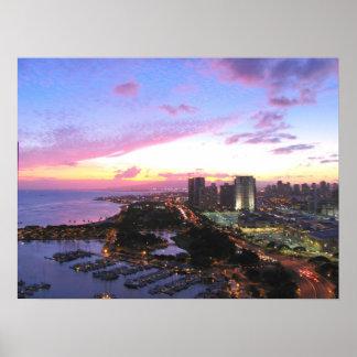 Honolulu cityscape Hawaii sunset Poster