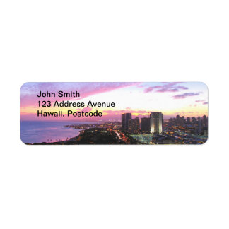 Honolulu cityscape Hawaii sunset Return Address Label