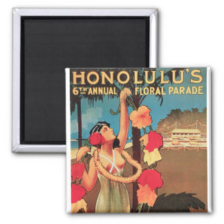 Honolulu, Hawaii 6th Annual Floral Parade 1911 Square Magnet