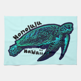 Honolulu Hawaii artistic sea turtle Tea Towel