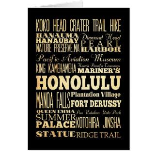Honolulu Hawaii City State Typography Art Greeting Card