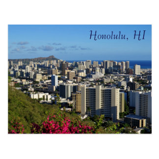 Honolulu Hawaii Diamond Head  View Punchbowl Postcard