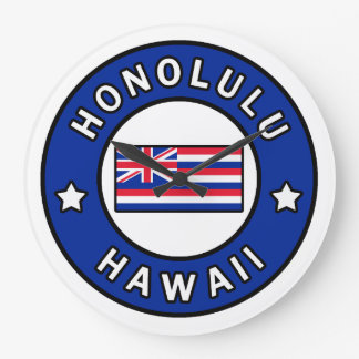 Honolulu Hawaii Large Clock