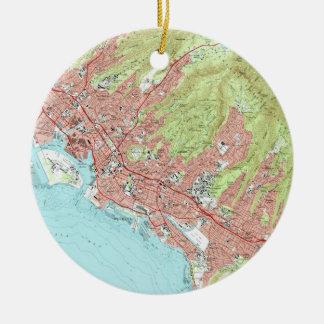 Honolulu Hawaii Map (1983) Christmas Ornament