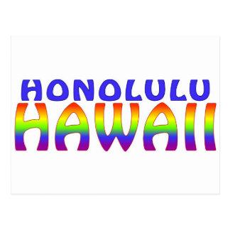 Honolulu Hawaii rainbow words Postcard
