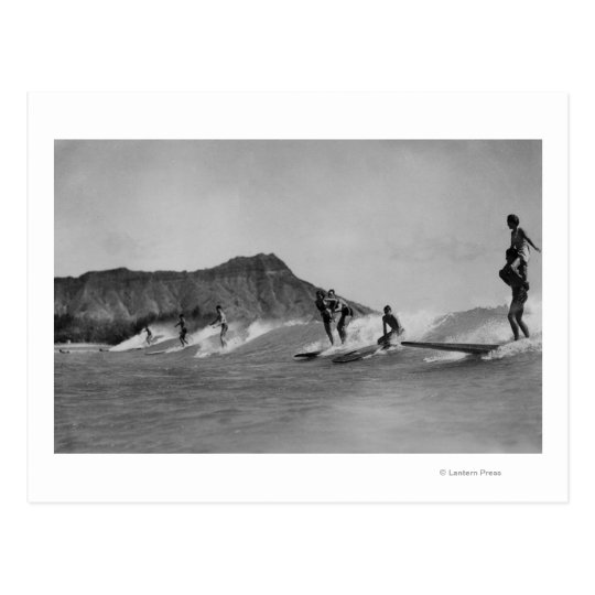 Honolulu, Hawaii - Surfers off Waikiki Beach Postcard