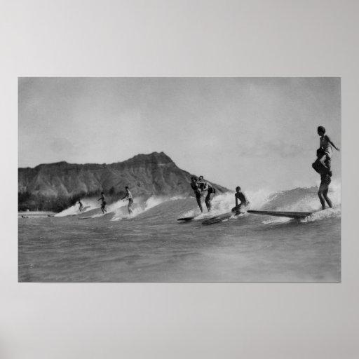 Honolulu, Hawaii - Surfers off Waikiki Beach Poster
