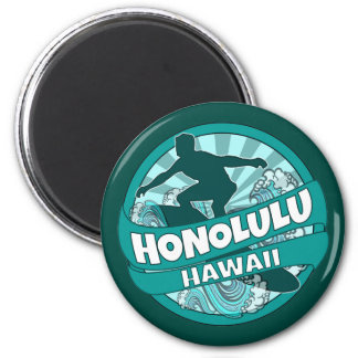 Honolulu Hawaii teal surfer logo magnet
