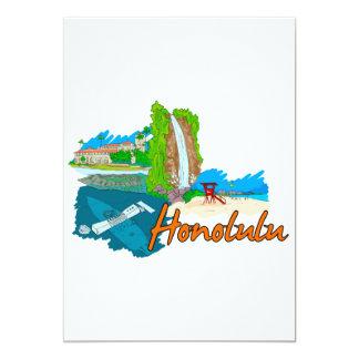 Honolulu - Hawaii - United States of America.png 13 Cm X 18 Cm Invitation Card