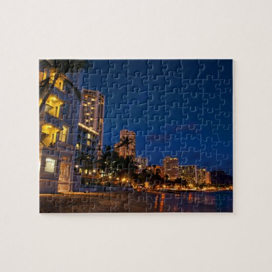Honolulu, Oahu, Hawaii. Night exposure of Jigsaw Puzzle