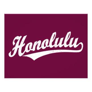 Honolulu script logo in white distressed 21.5 cm x 28 cm flyer