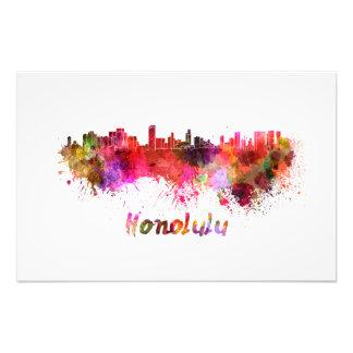 Honolulu skyline in watercolor photo