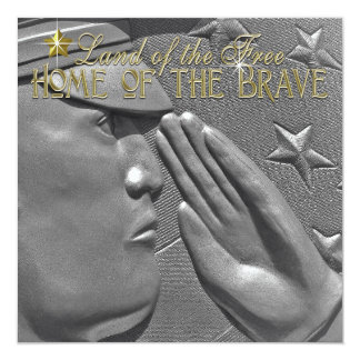 Honor Military Salute Independence Day 13 Cm X 13 Cm Square Invitation Card
