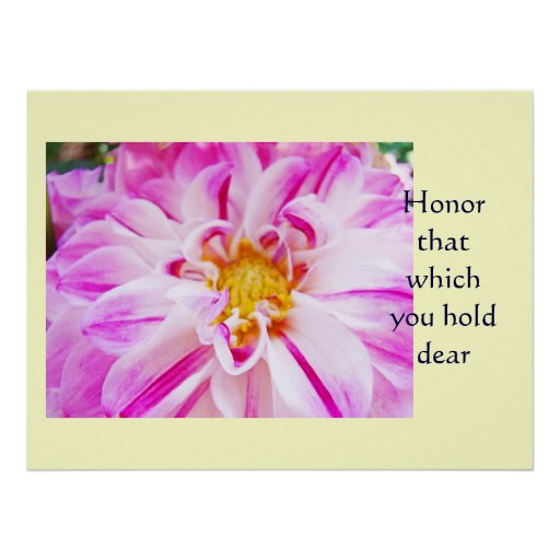 Honor that which you hold dear Pink White Dahlia Posters
