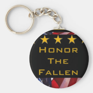 Honor the Fallen Military Tribute Basic Round Button Key Ring