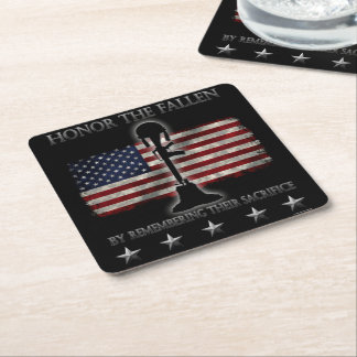 Honor The Fallen Square Paper Coaster