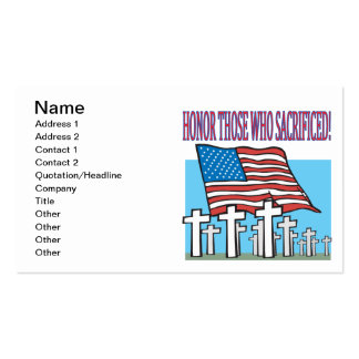 Honor Those Who Sacrificed Pack Of Standard Business Cards