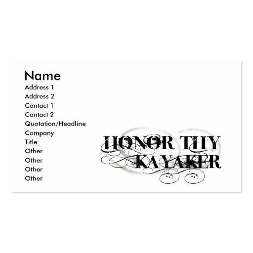 Honor Thy Kayaker Business Card Templates