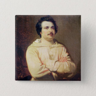 Honore de Balzac  in his Monk's Habit, 1829 15 Cm Square Badge
