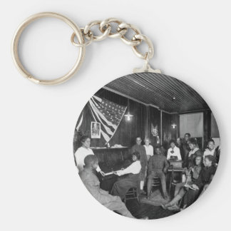 Honoring men about to leave for camps. _War image Basic Round Button Key Ring