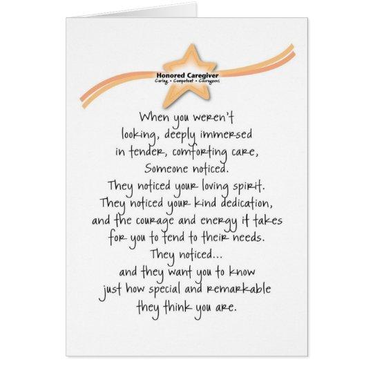 Honoured Caregiver Card
