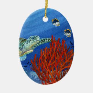 Honu and Black Coral Ceramic Oval Decoration