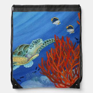 Honu and Black Coral Drawstring Bag